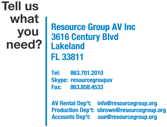 contact details for Resource Group AV, audio, Lighting and staging