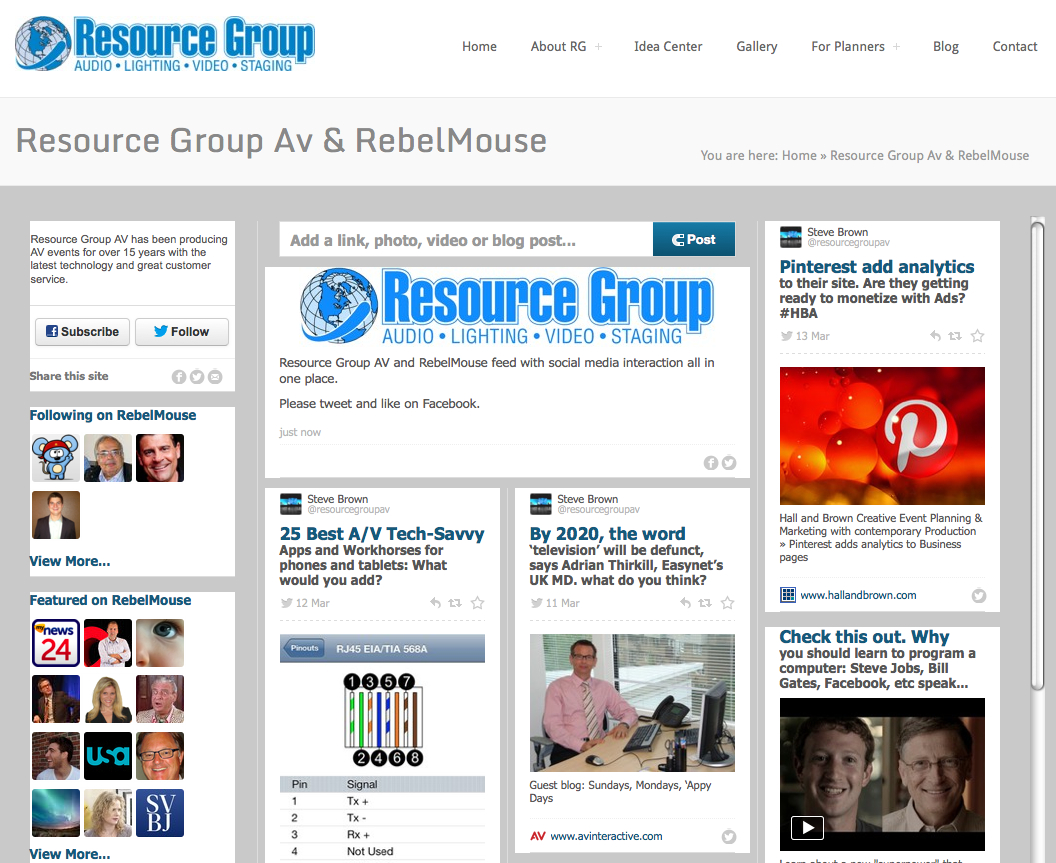 Presentation Services With Av On RebelMouse Social Media By Resource Group AV